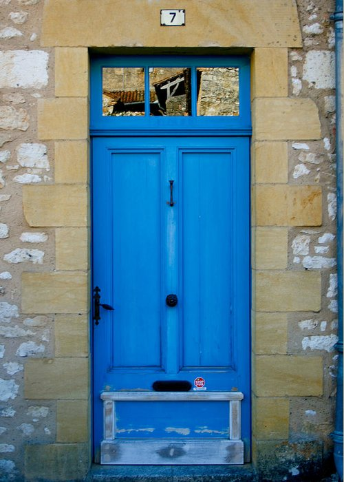Rustic Greeting Card featuring the photograph South Of France Rustic Blue Door by Georgia Fowler