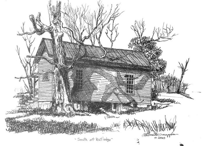 Pen And Ink Greeting Card featuring the drawing South Of Rutledge by Peter Muzyka