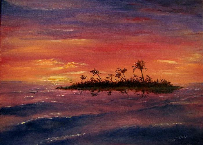 Sunset Greeting Card featuring the painting South Pacific Atoll by Jack Skinner