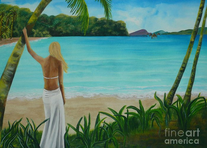 Tropical Greeting Card featuring the painting South Pacific Dreamin by Kris Crollard
