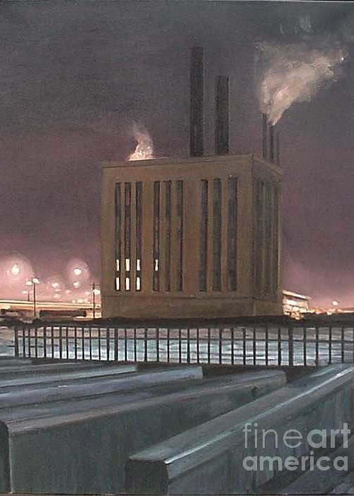 Power Plant Near Roosevelt Road And The Chicago River During An Especially Cold Winter Night. Greeting Card featuring the painting South Side Night by Christopher Buoscio