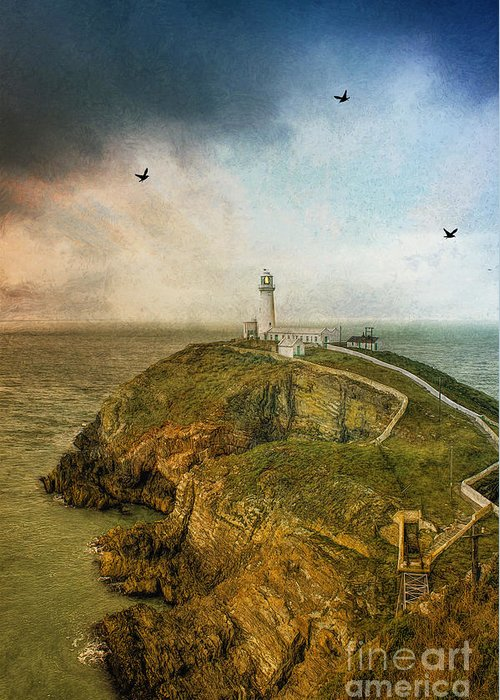 Lighthouse Greeting Card featuring the photograph South Stack Lighthouse by Ian Mitchell
