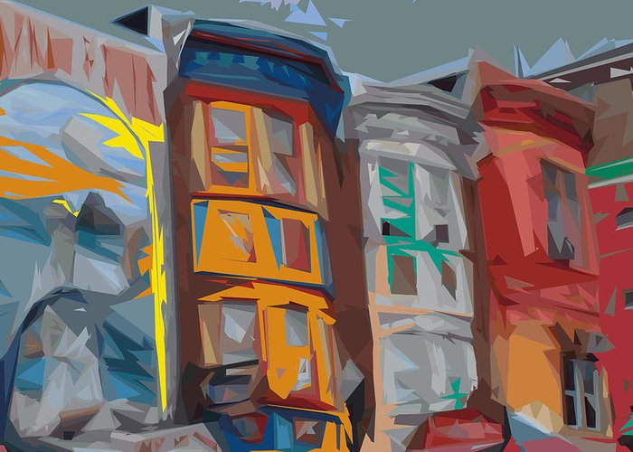 Philadelphia Greeting Card featuring the digital art South Street Revisited by Kevin Sherf