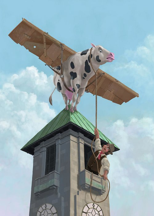 Cartoon Cow Greeting Card featuring the painting Southampton Cow Flight by Martin Davey