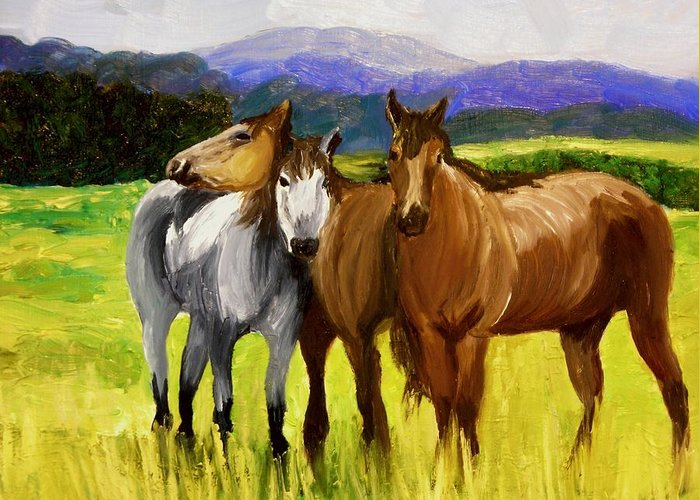 Horses Greeting Card featuring the painting Southern Boys by Michael Lee