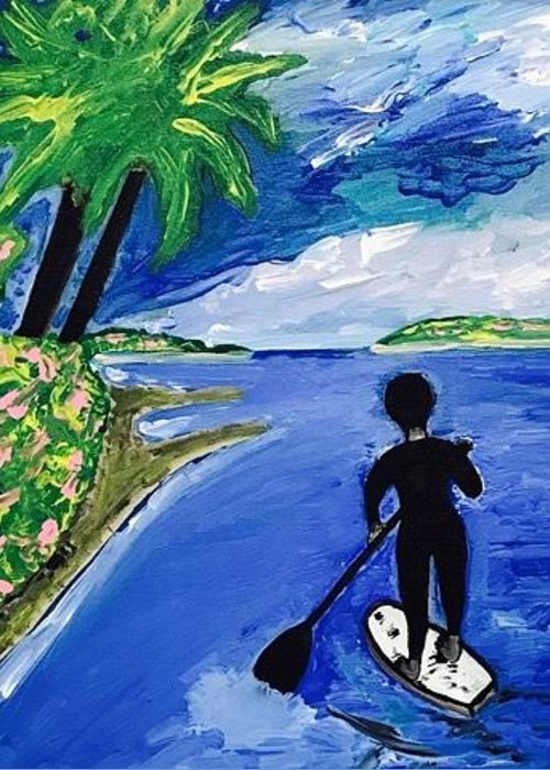 Southern California Paddle Boarding Greeting Card featuring the painting Southern California Paddle Boarding by Jonathon Hansen