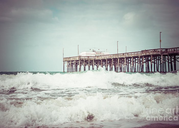 1950s Greeting Card featuring the photograph Southern California Pier Vintage 1950s Picture by Paul Velgos