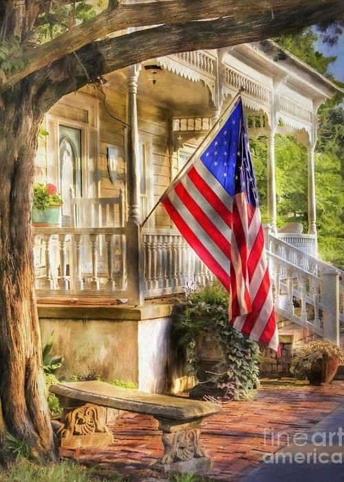 American Flag Greeting Card featuring the photograph Southern Charm by Benanne Stiens