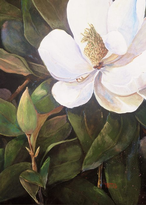 Floral Greeting Card featuring the painting Southern Magnolia by Jimmie Trotter