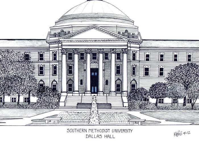 Pen And Ink Drawings Greeting Card featuring the drawing Southern Methodist University by Frederic Kohli