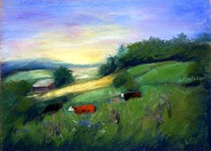 Landscape Greeting Card featuring the painting Southern Ohio Farm by Gail Kirtz