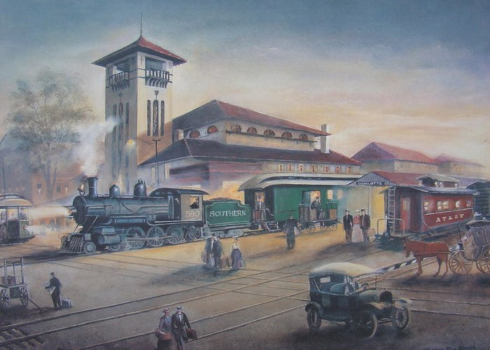 Charles Roy Smith Greeting Card featuring the painting Southern Railway by Charles Roy Smith