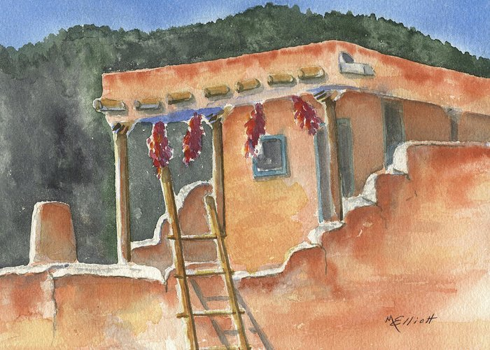 Adobe Greeting Card featuring the painting Southwest Adobe by Marsha Elliott