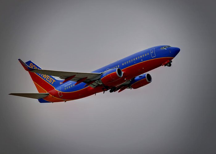 737 Greeting Card featuring the photograph Southwest Departure by Ricky Barnard