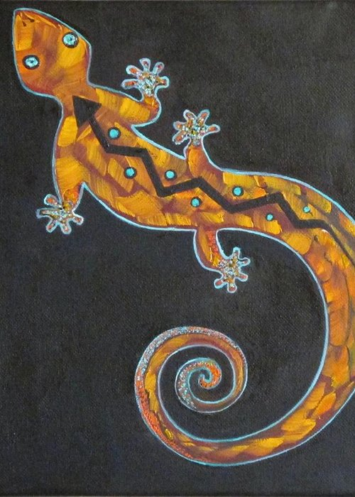 Lizard Greeting Card featuring the painting Southwest Lizard by Judy Lybrand