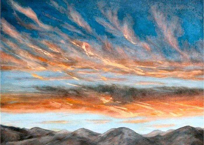 Sunset Greeting Card featuring the painting Southwest Sunset by Merle Blair