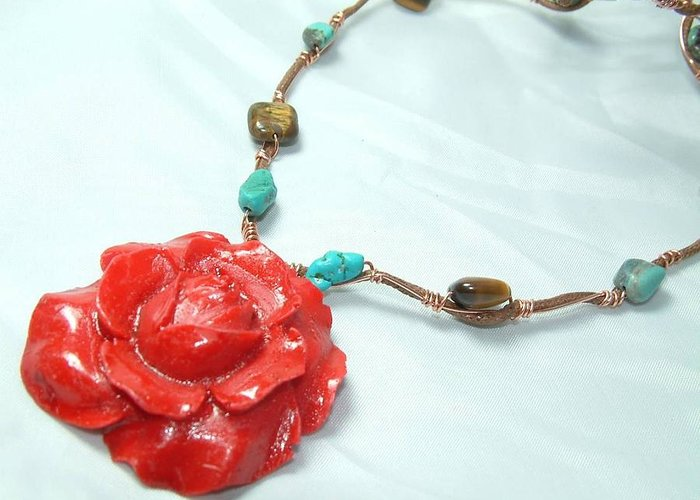 Greeting Card featuring the jewelry Southwestern Rose by Donna Phitides