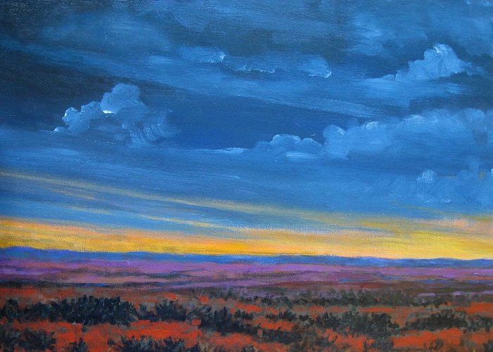 Sunset Greeting Card featuring the painting Southwestern Sunset by Gene Foust