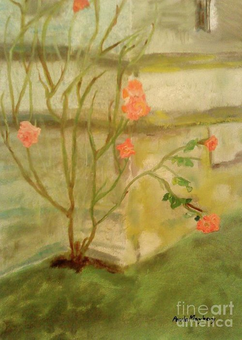 Garden Greeting Card featuring the painting Southwick Hall Rose by Paula Maybery