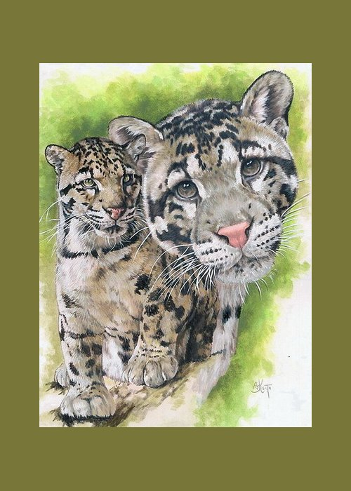 Clouded Leopard Greeting Card featuring the mixed media Sovereignty by Barbara Keith