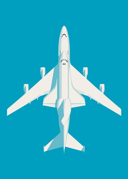 Poster Greeting Card featuring the digital art Space Shuttle And 747 Transport Jet - Cyan by Ivan Krpan