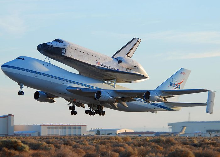 Space Greeting Card featuring the photograph Space Shuttle Atalantis Departs Edwards Afb July 1 2007 by Brian Lockett