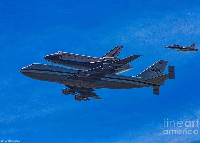 Space Shuttle Endevour Greeting Card featuring the photograph Space Shuttle Endevour by Tommy Anderson