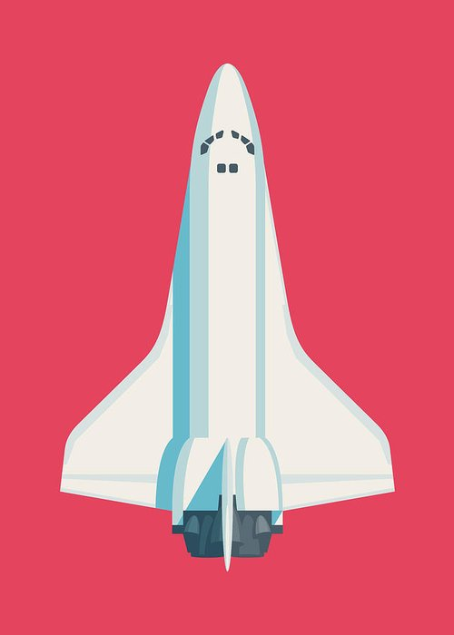 Poster Greeting Card featuring the digital art Space Shuttle Spacecraft - Crimson by Ivan Krpan
