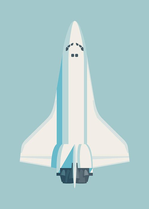 Poster Greeting Card featuring the digital art Space Shuttle Spacecraft - Sky by Ivan Krpan