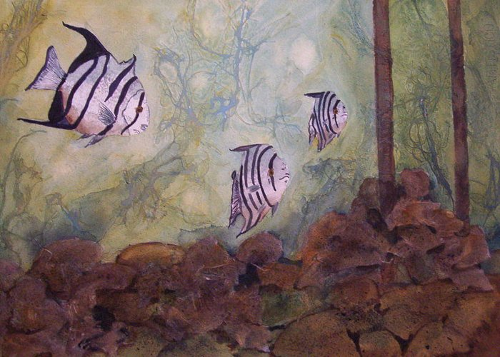 Fish Greeting Card featuring the painting Spadefish In Fl by Audrey Bunchkowski