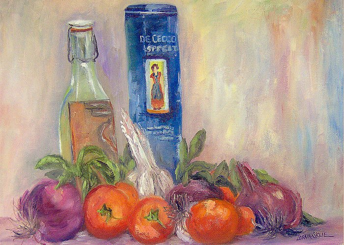 Still Life Greeting Card featuring the painting Spaghetti in the Raw by Lorna Skeie