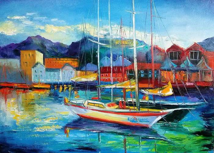 Spain Boats Greeting Card featuring the painting Spain Boats by Olha Darchuk