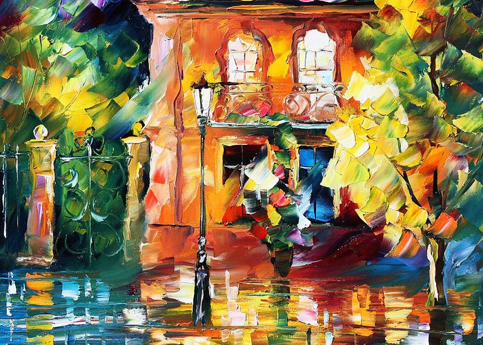 Afremov Greeting Card featuring the painting Spain by Leonid Afremov