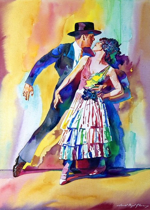 Romance Greeting Card featuring the painting Spanish Dance by David Lloyd Glover