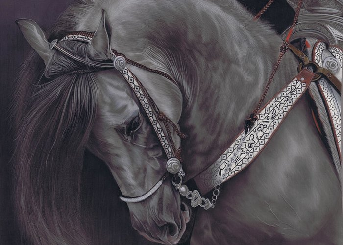 Horse Greeting Card featuring the pastel Spanish Horse by Karie-Ann Cooper
