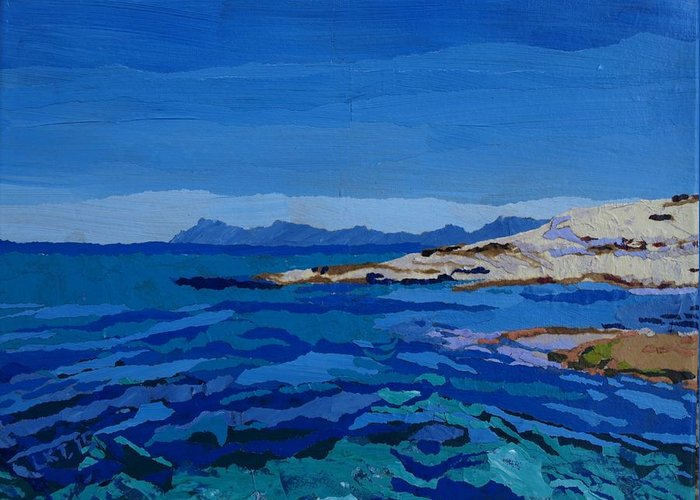 Ocean Greeting Card featuring the painting Spanish Jewels 1 by Leah Tomaino