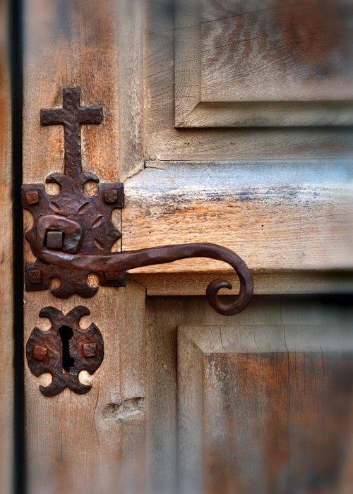 Spanish Mission Door Handle Greeting Card featuring the photograph Spanish Mission Door Handle by Jill Battaglia