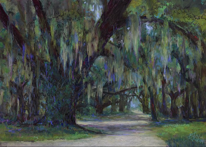 Southern Landscape Greeting Card featuring the painting Spanish Moss by Billie Colson