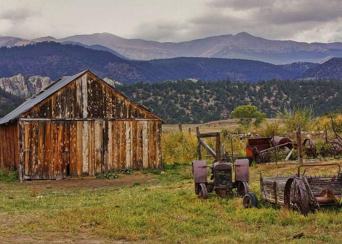 Black Mesa Greeting Card featuring the photograph Spanish Peaks Ranch 2 by Charles Warren