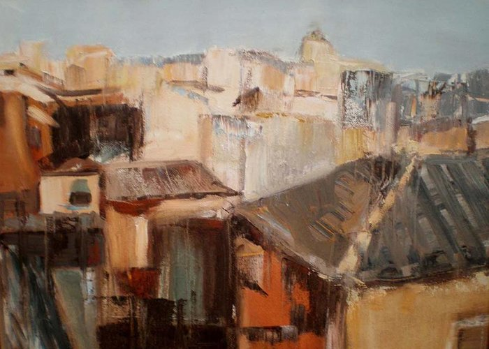 Urban Landscape Greeting Card featuring the painting Spanish Rooftops by Renee Rowe