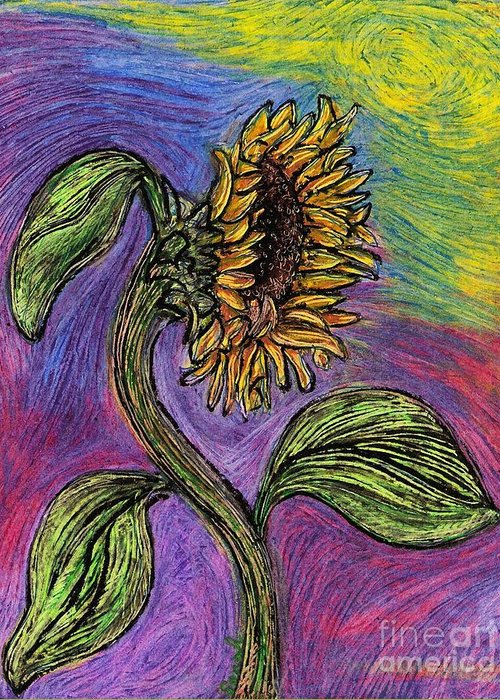 Sunflower Greeting Card featuring the pastel Spanish Sunflower by Sarah Loft