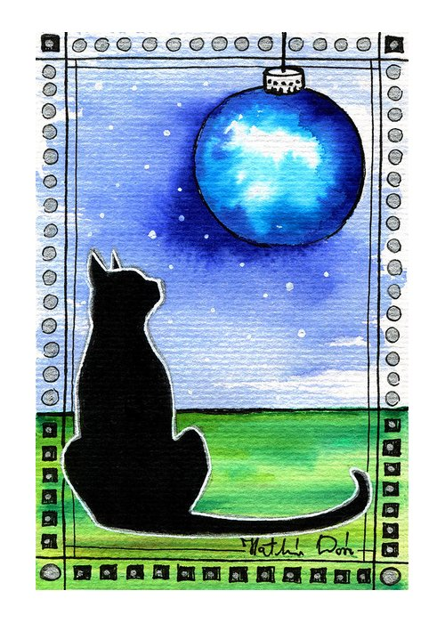 Sparkling Blue Bauble Greeting Card featuring the painting Sparkling Blue Bauble - Christmas Cat by Dora Hathazi Mendes