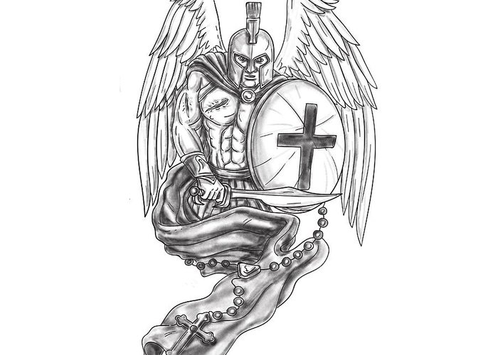 9355b938473e3  tattoo Greeting Card featuring the digital art Spartan Warrior Angel  Shield Rosary Tattoo by Aloysius