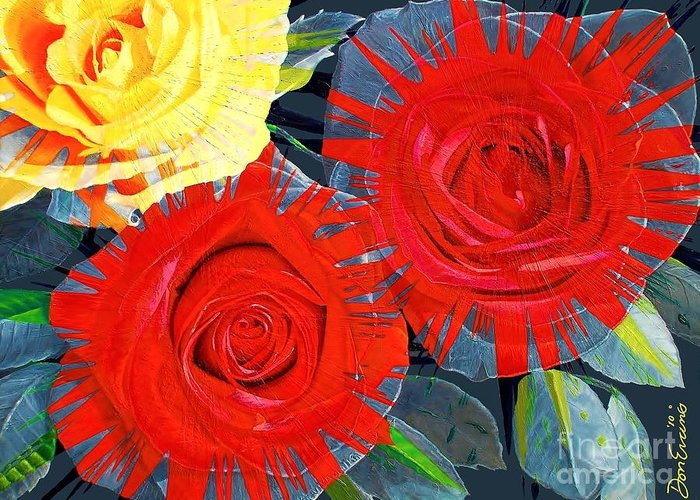 Flowers Greeting Card featuring the painting Spattered Colors On Roses by Don Evans