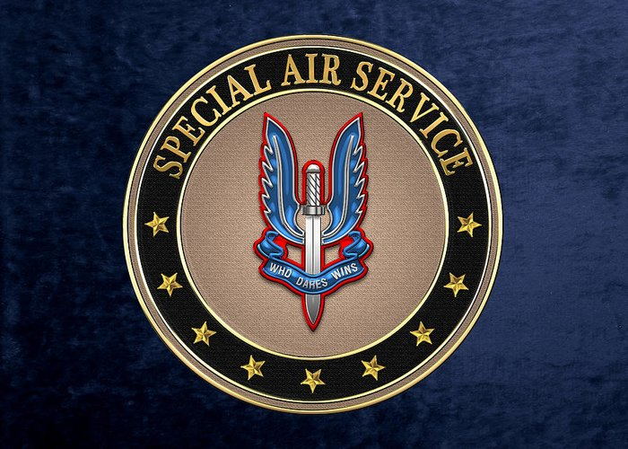 'uk Insignia & Heraldry' Collection By Serge Averbukh Greeting Card featuring the digital art Special Air Service - S A S Insignia Special Tan Edition Over Blue Velvet by Serge Averbukh