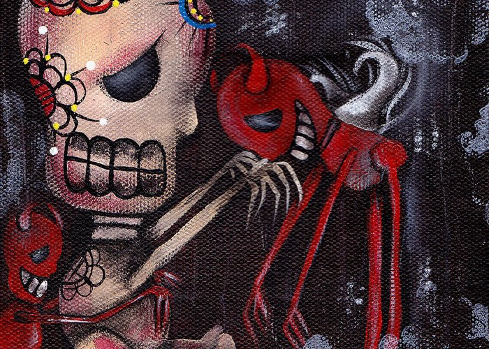 Day Of The Dead Greeting Card featuring the painting Special Friends by Abril Andrade Griffith