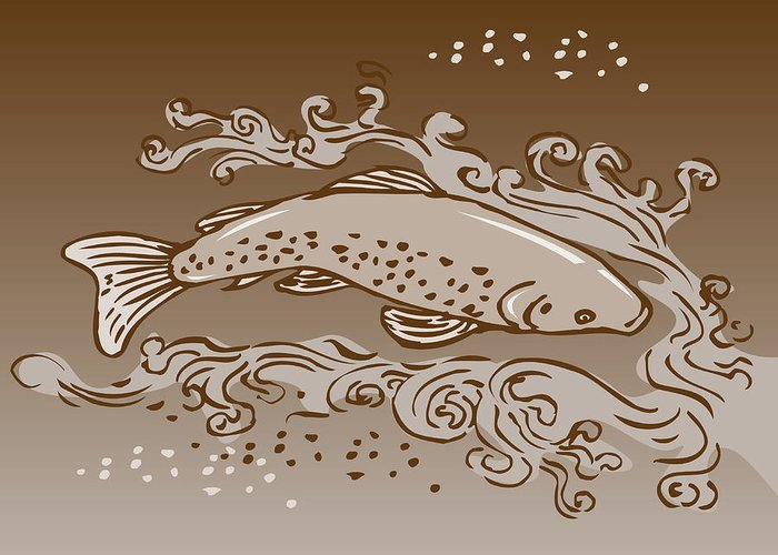 Trout Greeting Card featuring the digital art Speckled Trout Fish by Aloysius Patrimonio