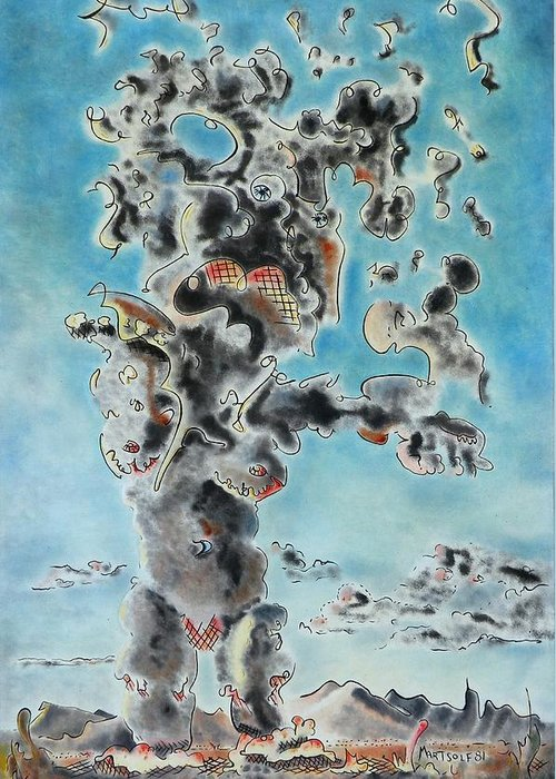 Surreal Greeting Card featuring the painting Spectre by Dave Martsolf