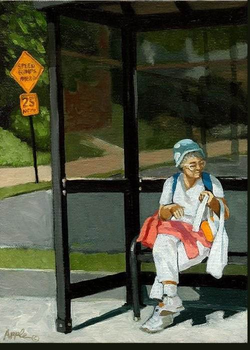 Woman At Bus Stop Greeting Card featuring the painting Speed Bumps Ahead - Urban Painting by Linda Apple