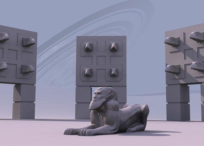 Surreal Greeting Card featuring the digital art Sphinx by Mariusz Loszakiewicz